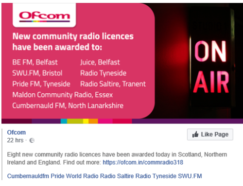 Ofcom awards Cumbernauld FM Licence
